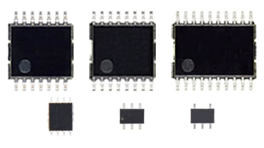The package photograph of expanding the line-up of general purpose logic ICs for automotive devices that can be used for various applications by extending the operating temperature range and satisfying the reliability requirements of AEC-Q100 : TC7WPB9306FK, TC7WPB9307FK, TC7SB66CFU, TC7SB67CFU.