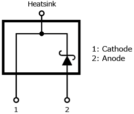 The illustration of internal circuit of expanded lineup of the second generation of SiC SBD products with a TO-220-2L package: TRS2E65F, TRS3E65F.