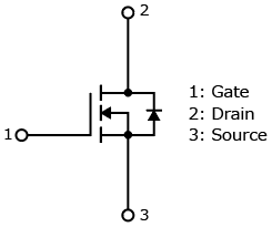 The illustration of internal circuit of new generation 600 V planar power MOSFET π-MOSIX series products: TK750A60F, TK1K2A60F, TK1K9A60F, TK650A60F.