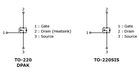 The illustration of internal circuits of expansion of the lineup of 80 V N-channel power MOSFETs with the adoption of a new process that helps to improve the efficiency of power supplies : TK2R4E08QM, TK3R3E08QM, TK5R3E08QM, TK7R0E08QM, TK2R4A08QM, TK3R2A08QM, TK5R1A08QM, TK6R8A08QM, TK5R1P08QM, TK6R9P08QM.