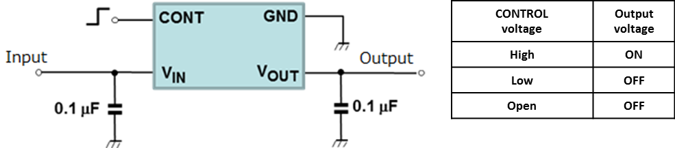 The illustration of Circuit Example: TCR2LN/LE/LF series